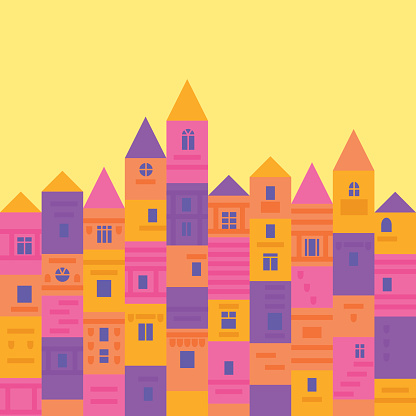 Colorful and cute medieval town from building blocks