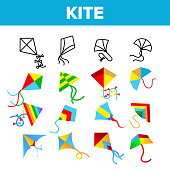 Colorful And Fun Kites Vector Linear Icons Set. Childhood Pastime, Game For Children. Summertime Outdoor Activity For Kids, Adults Thin Line Design. Kite With Ribbons Flying Flat Illustration