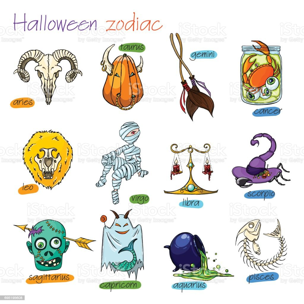 colorful and funny halloween zodiac signs all elements stock vector
