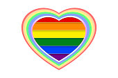 Colorful and multi-layered heart shape over rainbow (LGBT) colored stripes, isolated on white (transparent) background, paper cut style.