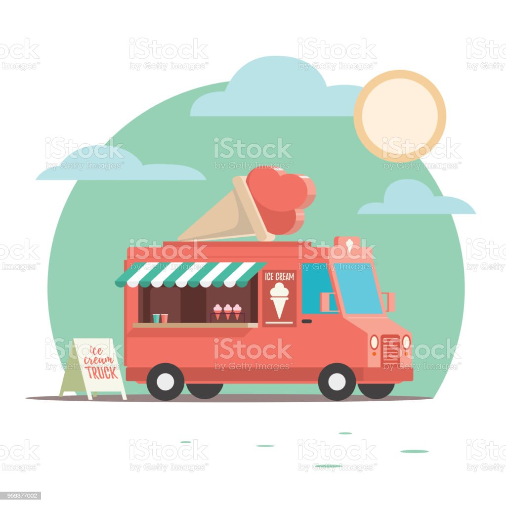 Colorful and Playful Ice Cream Truck with Ice Cream, cone on top. vector art illustration