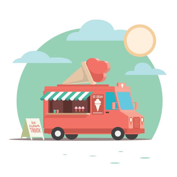 illustrazioni stock, clip art, cartoni animati e icone di tendenza di colorful and playful ice cream truck with ice cream, cone on top. - illustrazioni di ice cream