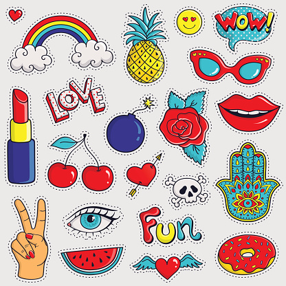 Colorful and trendy patches. Vector stickers.