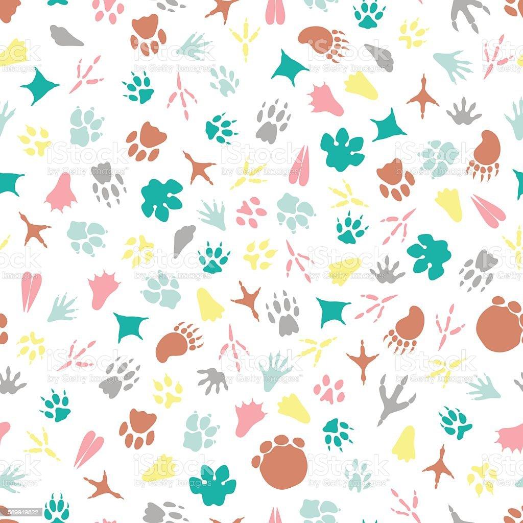 colorful animal footprints seamless pattern なぞるのベクターアート