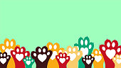 istock Colorful animal paws - banner 1163775073