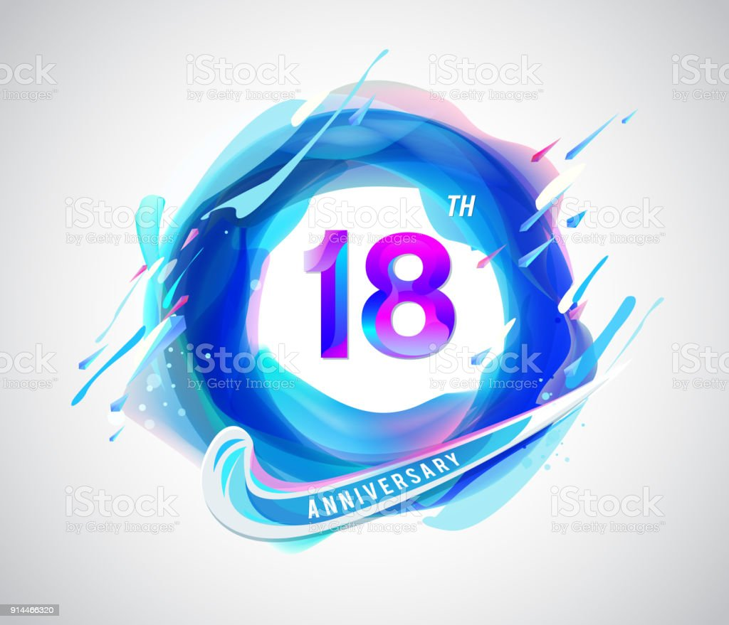 18 Colorful Anniversary Symbol Abstract Liquid Color Elements