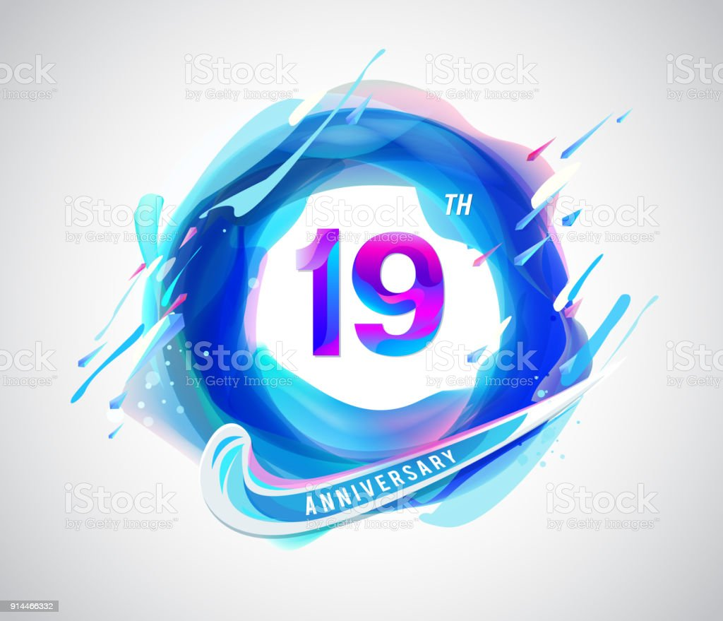 19 Colorful Anniversary Symbol Abstract Liquid Color Elements