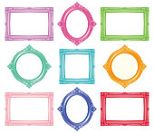 Set of colorful antique frames.