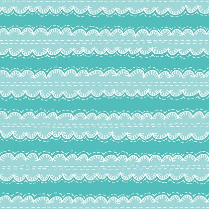 Colorful Aqua Boho Embroidery Needlework Vector Seamless Pattern. Hand Drawn Tribal Scalloped Edge Stitches Ribbon Print