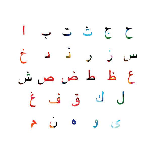Colorful Arabic alphabet design vector art illustration