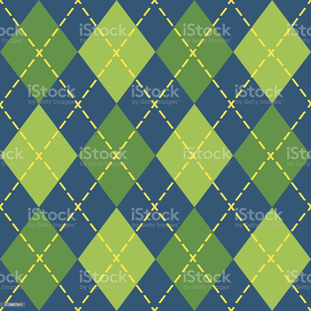 Colorful argyle blue and green seamless pattern Colorful argyle seamless pattern - Modern flat design in green, blue, and yellow Argyle stock vector