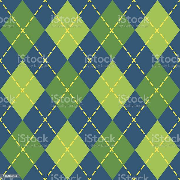 Colorful Argyle Blue And Green Seamless Pattern Stock Illustration - Download Image Now