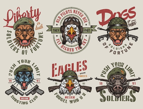 Colorful army and animals vintage labels