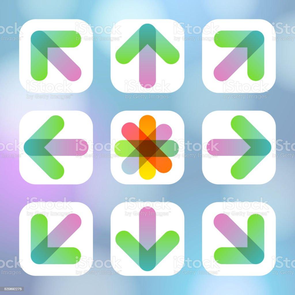 Colorful Arrow Icon Flat Menu. Vector illustration.