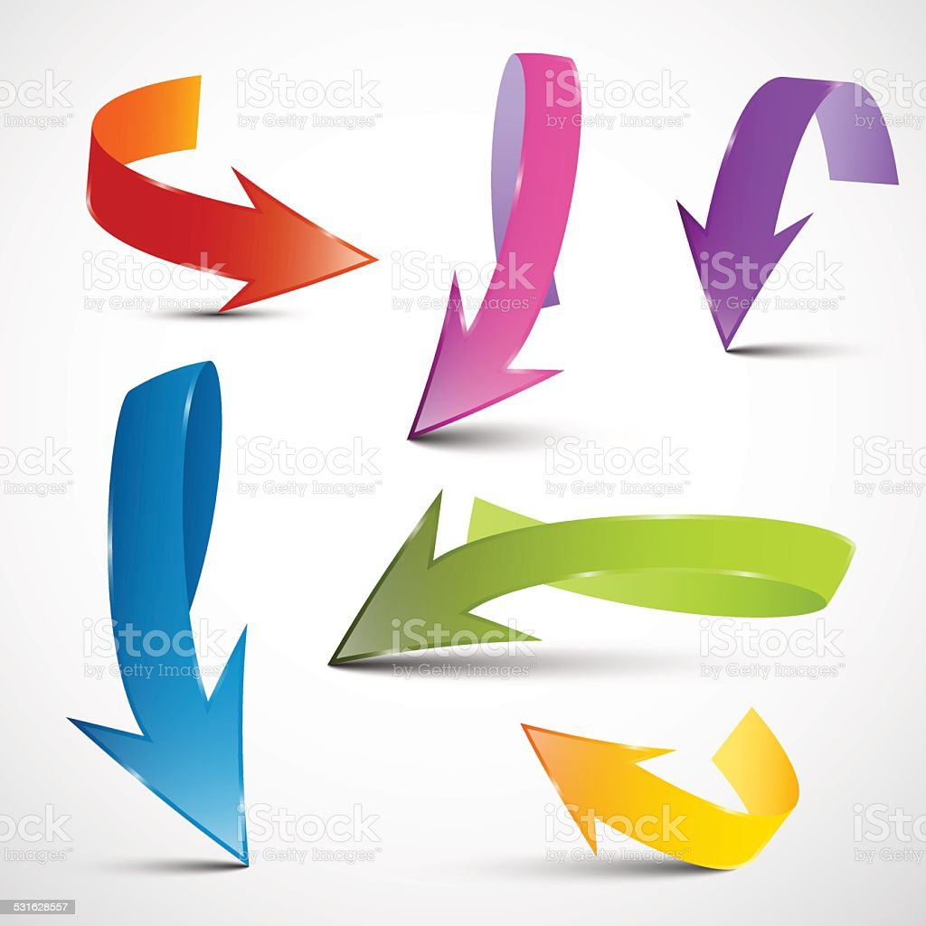 Colorful Arrows Set vector art illustration