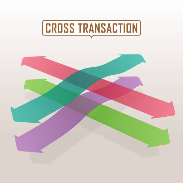 Colorful Arrows Through The Crossroad Difference color arrows through the crossway. crisscross stock illustrations