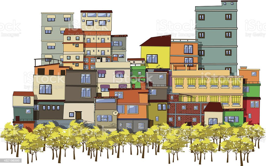 Colorful art depiction of multi-level buildings and trees vector art illustration