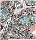 colorful art illustration map of Nanjing city of China