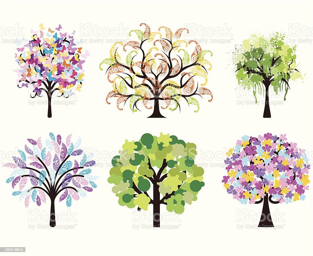 Colorful art trees vector art illustration