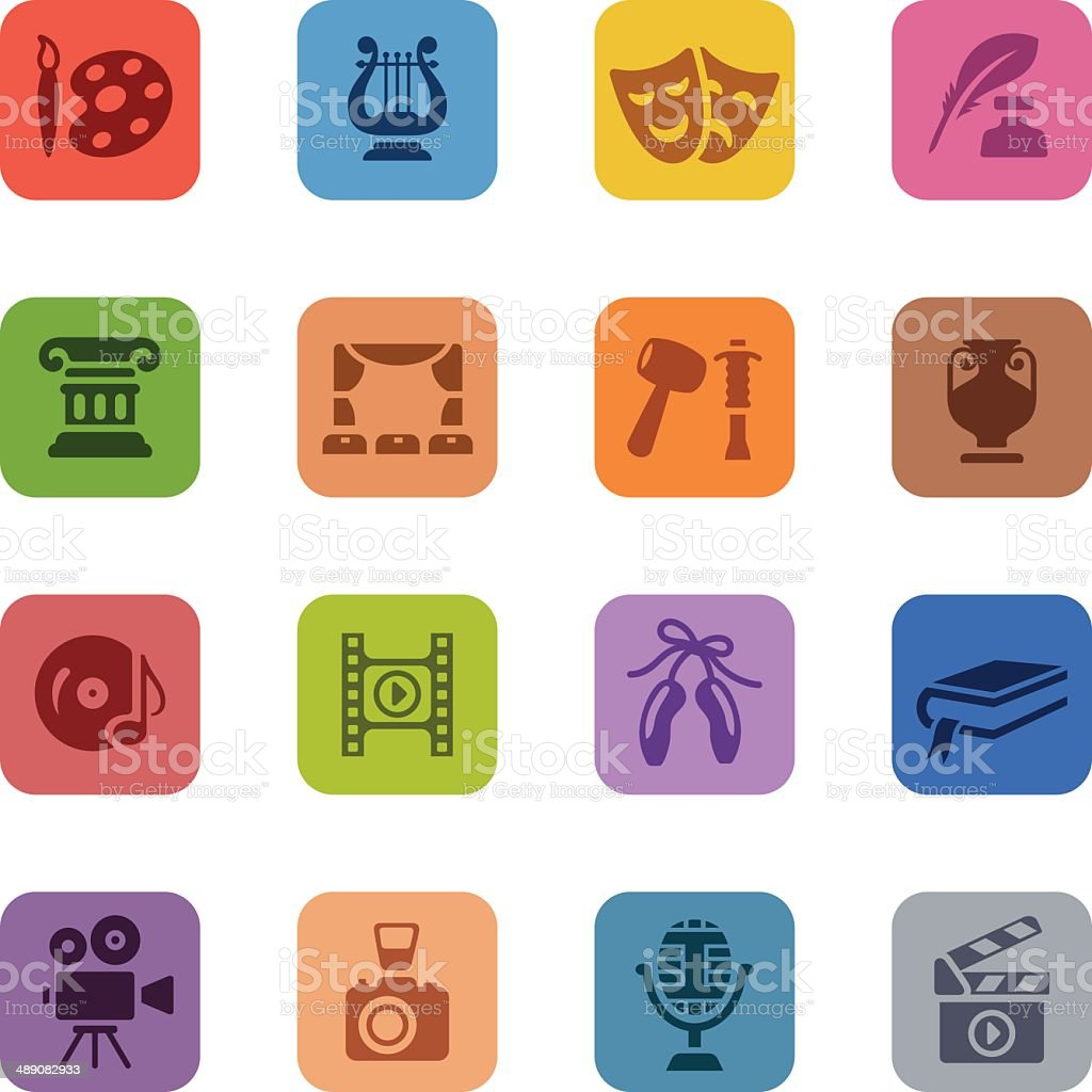 Colorful Arts Icon Set vector art illustration