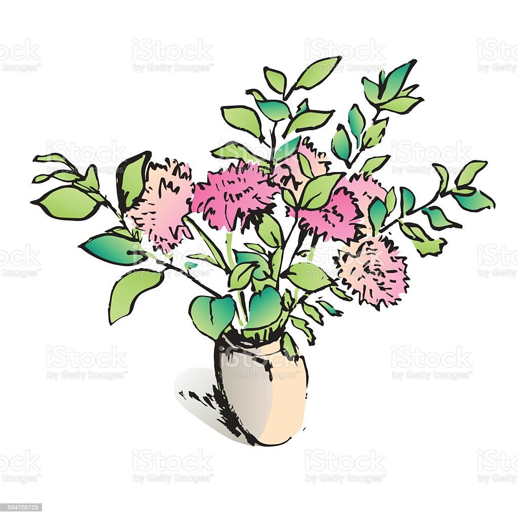 Colorful Aster Flowers Bouquet In A Vase Vector Illustration Stock