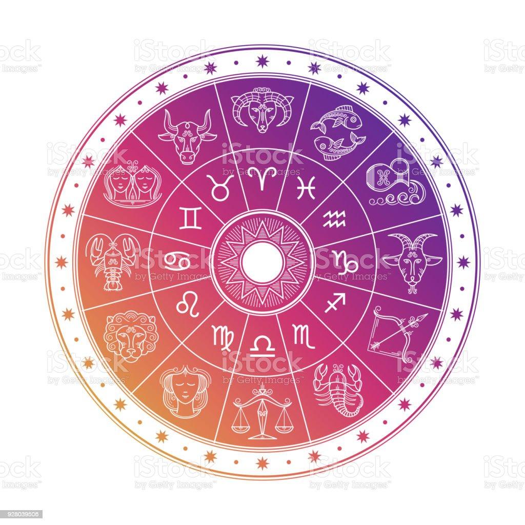 Conception cercle coloré astrologie horoscope signes isolés sur fond blanc - Illustration vectorielle