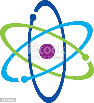 Vector illustration of a colorful atom icon.