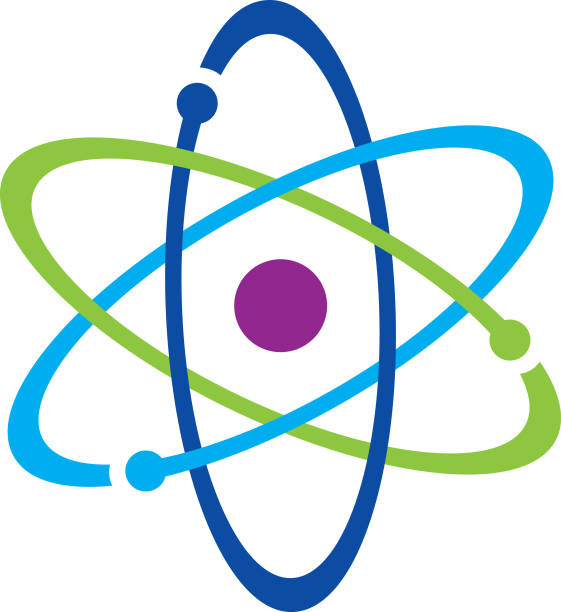 Colorful Atom Icon Vector illustration of a colorful atom icon. atom stock illustrations