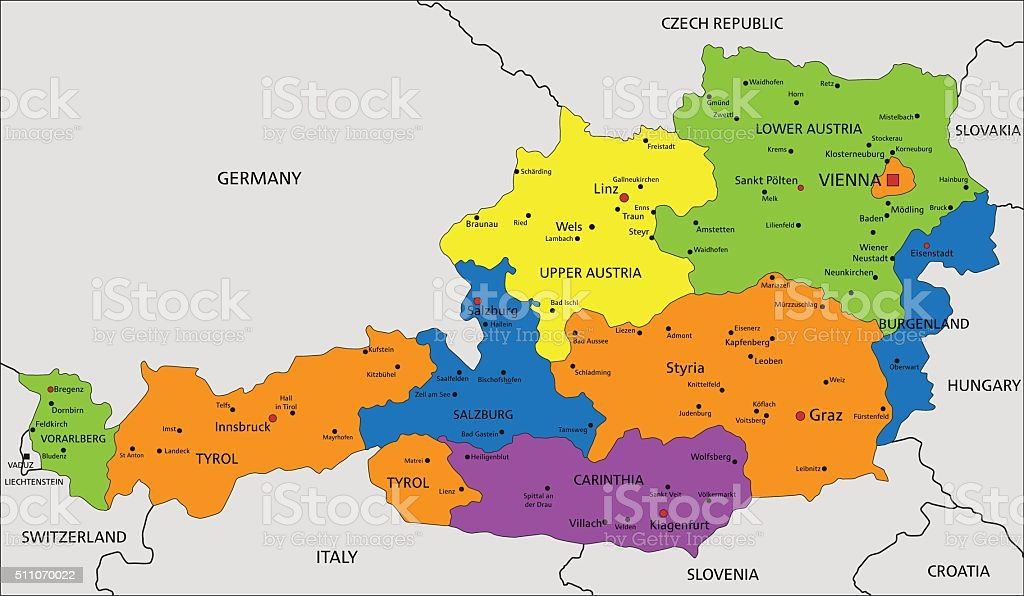 Colorful Austria political map with clearly labeled, separated layers. vector art illustration