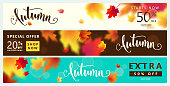Colorful autumn banner set. Fall sale background with bright maple leaves, light effect, season type lettering text sign 50 percent, 20 Off. Vector illustration