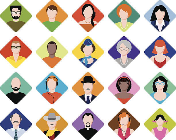 colorful avatars - old man face silhouettes stock illustrations, clip art, cartoons, & icons