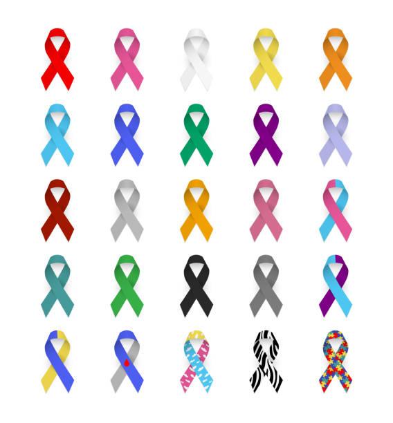 ilustraciones, imágenes clip art, dibujos animados e iconos de stock de cintas de conciencia colorida. emblema del cáncer, sida, hepatitis, lupus, diabetes, epilepsia, autismo, síndrome de down, enfermedades neurológicas. - símbolo societal