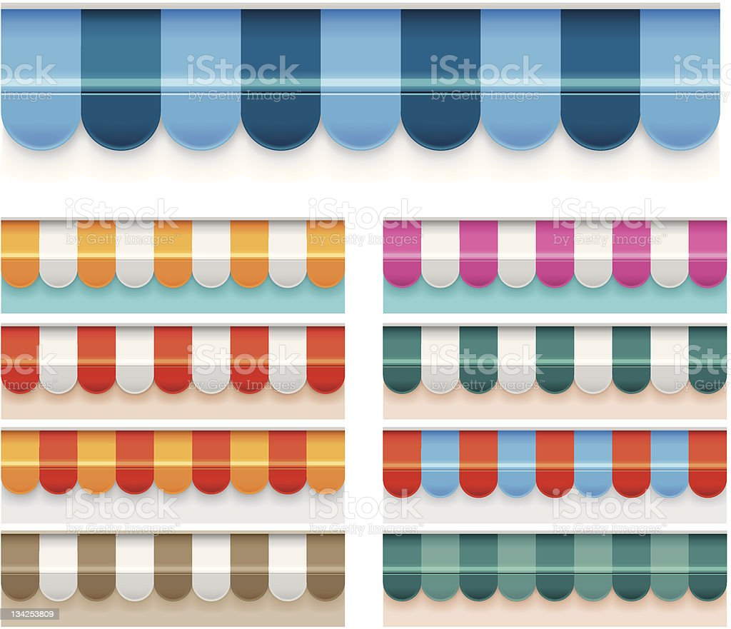 Colorful awnings vector art illustration