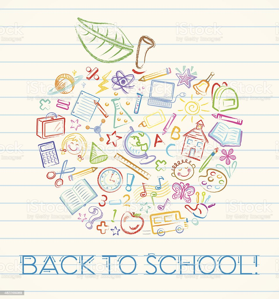 Colorful Back to School Apple royalty-free colorful back to school apple stock vector art & more images of apple - fruit