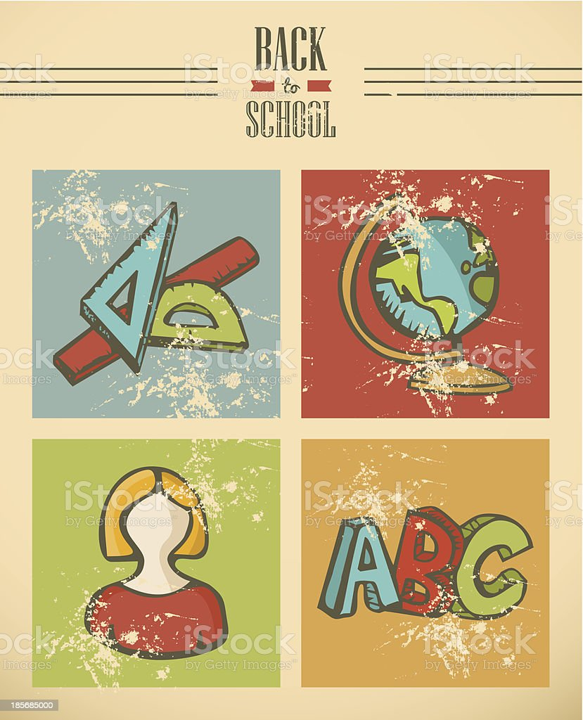 Colorful back to school ribbon icons, grunge background illustration. royalty-free stock vector art
