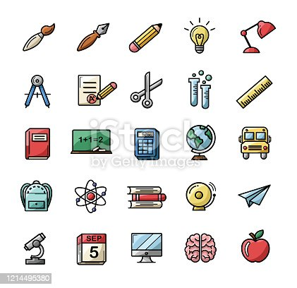 Colorful back to school set of icons - Illustration