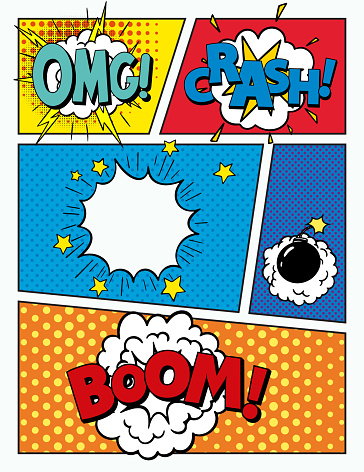 colorful background. Comic book page. Pop Art Style Blank