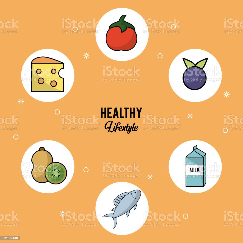 Colorful Background Of Healthy Lifestyle With Set Of Food In Round ...