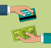 colorful background of transaction in cash and credit card between two persons