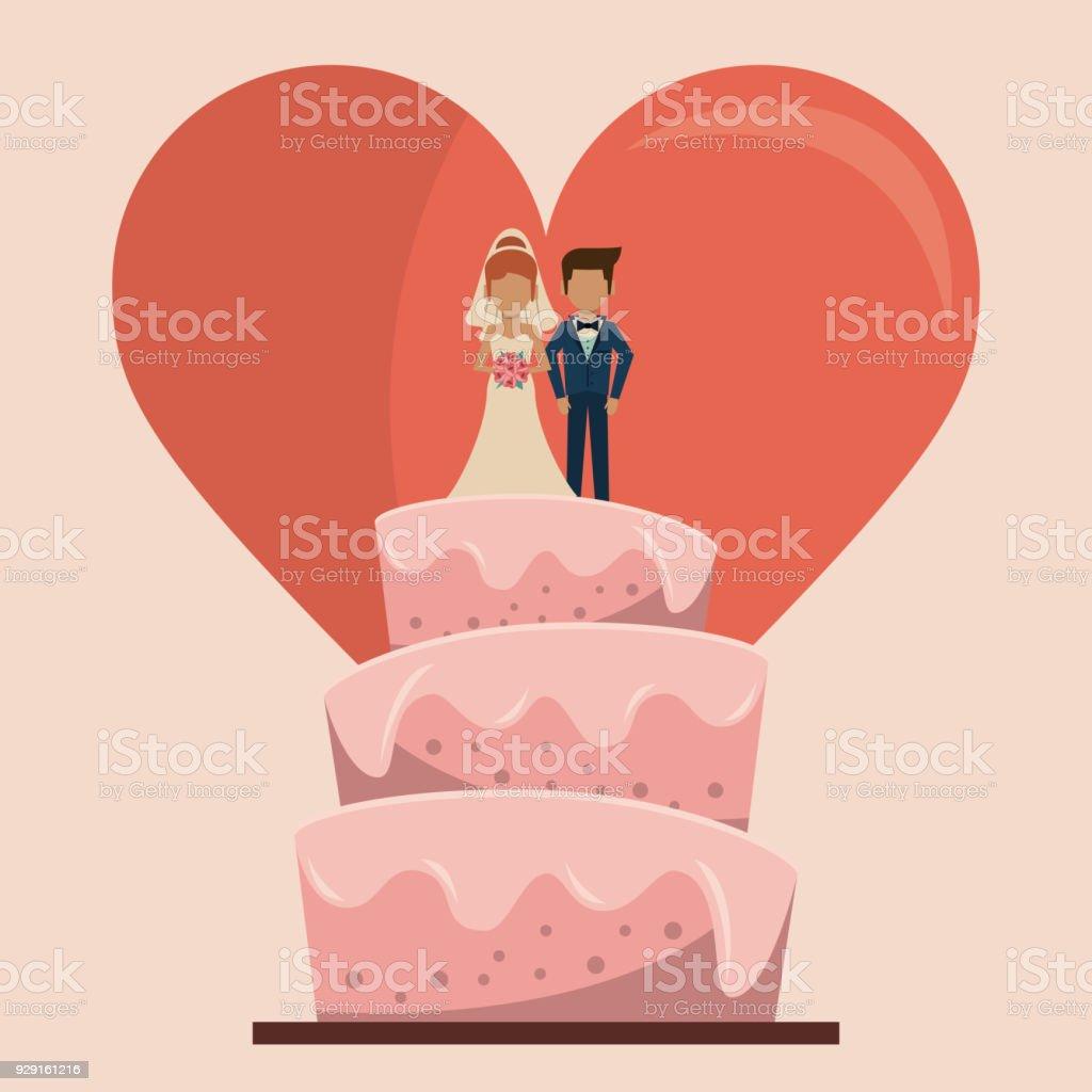 Farbigen Hintergrund Der Hochzeitstorte Mit Paar Nur Verheiratet Und