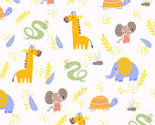 Colorful background pattern of animals scattered over a white background with giraffe, elephant, mouse, tortoise and snake in a vector illustration