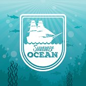 colorful background sea landscape underwater and logo summer ocean silhouette waves and sailboat vector illustration