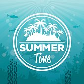 colorful background sea landscape underwater and logo summer time silhouette island with palms vector illustration