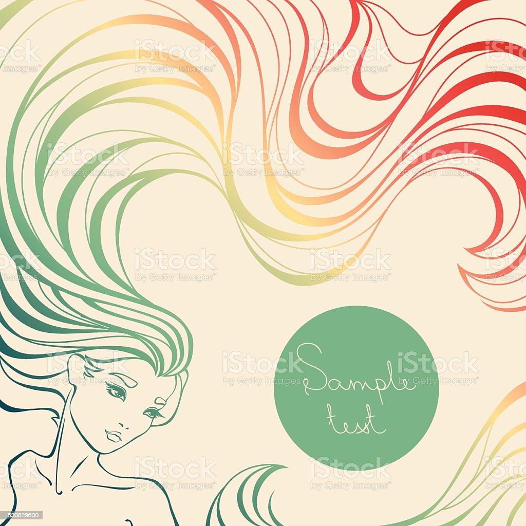 カラフルなの背景美しい女の子ロングウェーブヘア のイラスト素材