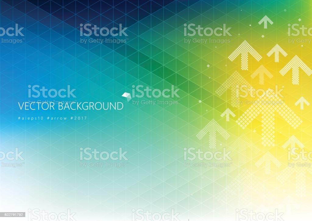Fundo colorido com padrão de seta de direção branco de desvanecimento - ilustração de arte em vetor
