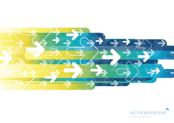 Colorful background with fading white direction arrow pattern vector art illustration