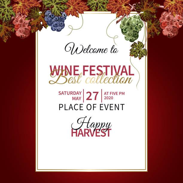 bildbanksillustrationer, clip art samt tecknat material och ikoner med färgstark bakgrund med druvor och vinstockar för vin festivalen. - vin sommar fest