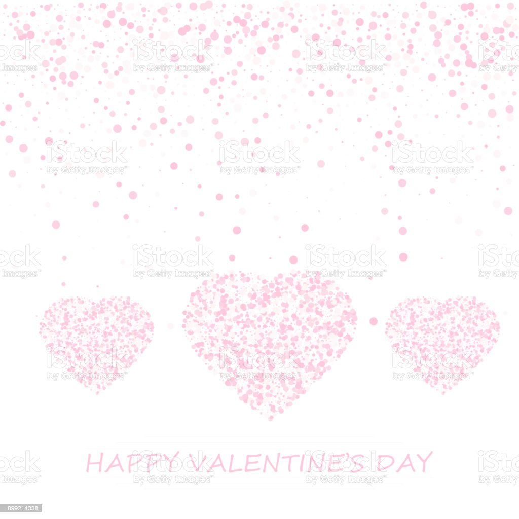 Colorful Background With Heart Confetti Valentines Day Greeting Card ...