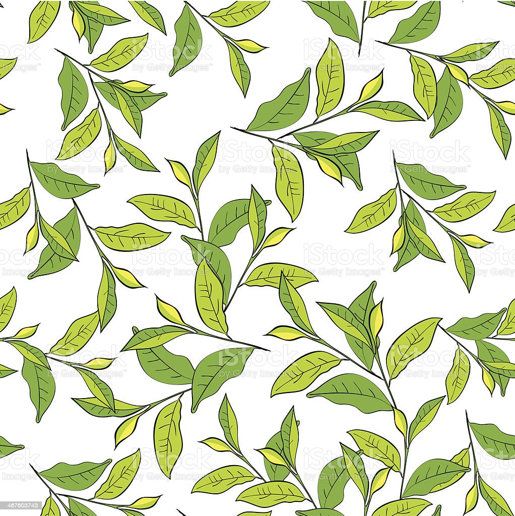 Colorful background with leaves. vector art illustration