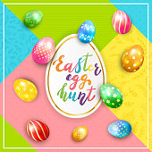 Painted Easter eggs and lettering Easter Egg Hunt on colorful background, illustration.
